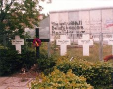 Memorial to the Victims of the Wall, with graffiti, 1982.
