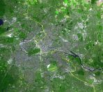 Satellite image of Berlin, with the wall's location marked in yellow.