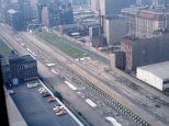"""East Berlin """"death strip"""" of the Berlin Wall, as seen from the Axel Springer AG Building, 1984."""