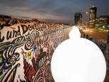 Balloon columns are arranged along the former route of the Berlin Wall at the East-Side-Gallery in Berlin, Germany.