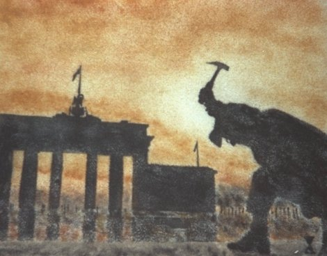Sandpainting of the Destruction of the Wall by Brian Pike (using magnetised iron_filings and particles from the Berlin Wall).