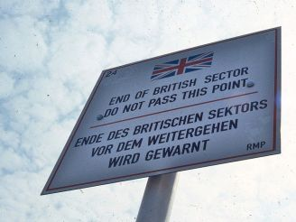 Road sign delimiting the British zone of occupation in Berlin, 1984.