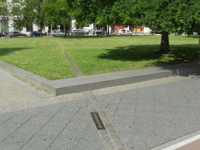 Line indicating where the Wall once stood, just off Potsdamer Platz, in 2015.