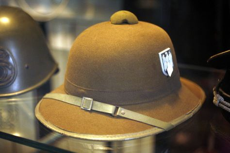 German pith helmet in olive drab.