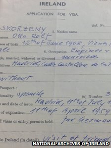 Skorzeny's visa application.