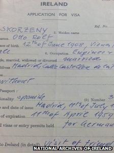 Skorzeny's visa application.