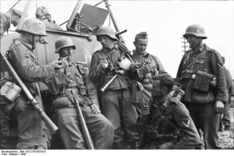 German soldiers with Stahlhelms in the Soviet Union in 1942.