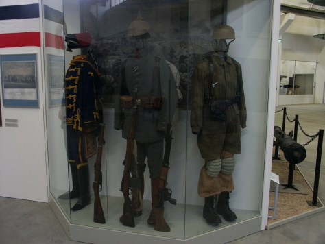 Many Different Ages of Uniforms with Napoleonic Era, World War 1, and WW2 Luftwaffe Fallschirmjager.