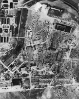 Aerial photo of the bombed out Focke-Wulf Factory at Marienburg, Germany.