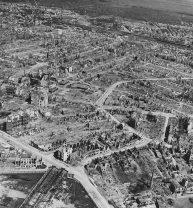 Bremen aerial view Hochbunker F97 Hans Bockler Strasse,1945.