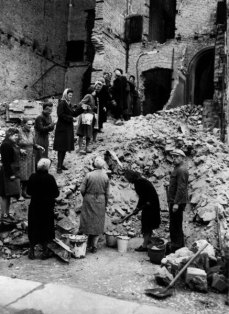 The initial work of reconstruction was done by the rubble women , or rubble women. With so many men in the war, the allies relied on women between the ages of 15 and 50 to do the hard work of clean-up.