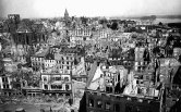 In a seemingly endless catalog of annihilation, Berlin, Cologne, Leipzig, Magdeburg, Hamburg, Kiel, Lubeck, Munster, Munich, Frankfurt, Wurzburg, Mainz, Nuremberg, Xanten, Worms, Brunswick, Hanover, Freiburg and Dresden were all devastated. This image shows a view of the city of Mainz from its cathedral.