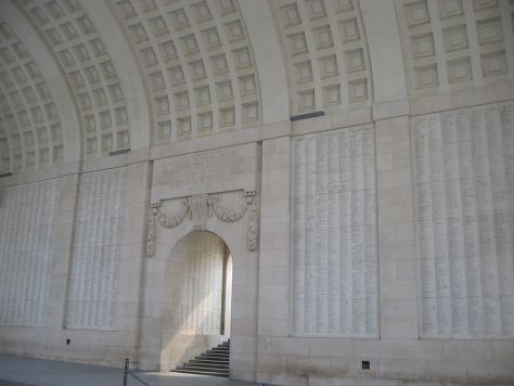 Part of the interior of the Menin Gate, Ypres, where every night at 8 p.m. a memorial service is held.