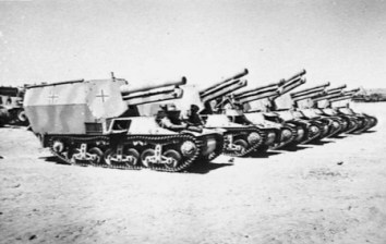 Seven captured German self-propelled 15 cm howitzers from the division, near El Alamein, Egypt.