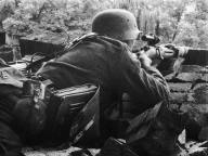 Sniper of the Wehrmacht in operation.