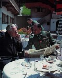 "Shown here on the terrace of the Berghof Adlerhorst (Eagle's Nest) on the Obersalzberg, from left to right: Heinrich Hoffmann (Reichsbildberichterstatter/Hitler's personal photographer) and SS-Obergruppenführer und General der Waffen-SS Josef ""Sepp"" Dietrich (Kommandierender General I. SS-Panzerkorps) during the spring-summer of 1944."
