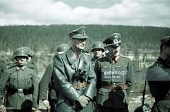 From left to right: Generaloberst Eduard Dietl (Oberbefehlshaber 20. Gebirgsarmee) and Generalleutnant Hermann Tittel (Kommandeur 169. Infanterie-Division). The picture was taken in 1942, when general Dietl visiting troops in the polar region of war (Finland/Norway).