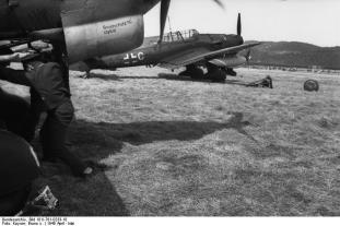 "Junkers Ju 87R (rear engine with code ""A5 + CH"") of the dive-bomber wing on a one airfield, north PK Season."