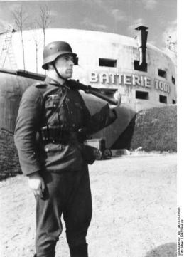 A soldier at the Todt Battery during World War II.