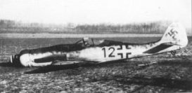A Focke-Wulf Fw 190D-9 of 10./JG54 (Leutnant Theo Nibel), downed by a partridge which flew into the radiator near Brussels on 1 January 1945.