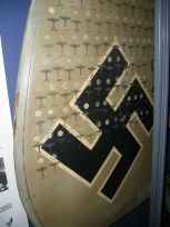 One of the tail fins of Heinz-Wolfgang Schnaufer's Bf 110. It displays all of his 121 victories, Imperial War Museum, 2010.