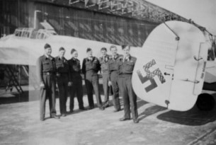Members of the Royal Australian Air Force pose with Schnaufer's Bf 110G-4 (G9+BA, Stab/NJG 1) at Schleswig, Germany, shortly after the end of the war, 19 June 1945.