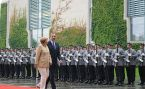 Wachbataillon personnel in Army uniforms perform the military honours for the German Chancellor Angela Merkel and Greek Prime Minister Antonis Samaras on 24 August 2012.