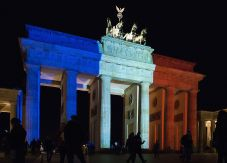 Brandenburg gate lit up to look like the French Flag after the November 2015 Paris attacks.