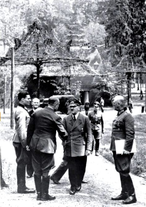 Stauffenberg, left, with Hitler (centre) and Wilhelm Keitel, right, in an aborted assassination attempt at Rastenburg on 15 July 1944.