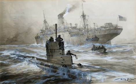 Sinking of the Linda Blanche out of Liverpool by Willy Stöwer.