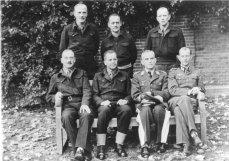 German officers at Trent Park: Back row from left to right: Generalleutnant Otto Elfeldt, Generalleutnant Ferdinand Heim, Generalmajor Gerhard Bassenge. Front row from left to right: Generalleutnant Friedrich Freiherr von Broich, General der Panzertruppe Heinrich Eberbach, Generalleutnant Georg Neuffer, Oberst Hans Reimann.