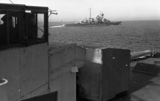 Blücher en route to Norway, as seen from the light cruiser Emden.