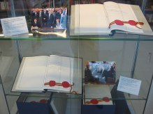The two original copies of the Unification Treaty signed on 31 August 1990. West German Interior Minister Wolfgang Schäuble signed for the FRG and the East German State Secretary Günther Krause signed for the GDR.