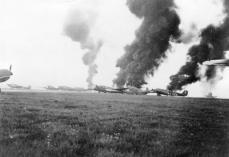 Burning German Junkers Ju 52s at Ypenburg, Netherlands in 1940.