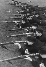 Hitler Youth at rifle practice, c. 1943.