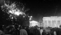 Fireworks at Brandenburg Gate after the reunification.