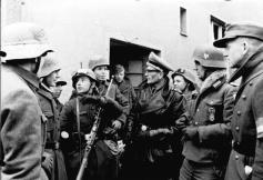 Members of a Hitlerjugend company of the Volkssturm at the German-Soviet front in Pyritz, Pomerania, February 1945.