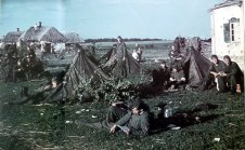 German soldiers from 6. Armee Bivouac in an unknown Ukrainian village - waiting for the order to march - during Unternehmen Blau (Operation Blue), summer 1942. The picture was taken by Hans Eckle, a soldier from 587.Infanterie-Regiment / 320.Infanterie-Division. Unternehmen Blau or Fall Blau (Case Blue) was the German Armed Forces' name for its plan for the 1942 strategic summer offensive in southern Russia between 28 June and 24 November 1942.