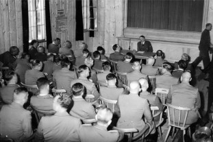 4 August 1944: After the assassination attempt of 20 July 1944 Adolf Hitler assembles the Reich (Reichsleiter) and Gau (Gauleiter) Leadership at the Wolfschanze to render homage to him. A demonstration of the unity of the NSDAP political leadership.