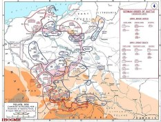 Dispositions of the opposing forces on 31 August 1939 with the German order of battle overlaid in pink.