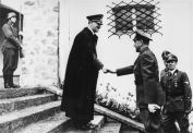 Adolf Hitler meets fascist dictator Ante Pavelić upon his arrival at the Berghof for a state visit, June 1941.