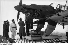 The Eastern Front brought new challenges. A Ju 87 B-2 is fitted with ski undercarriage to cope with the winter weather, 22 December 1941.