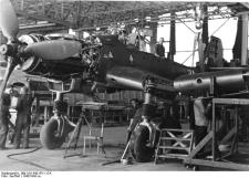 A Ju 87D during wing installation.