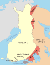 Areas ceded by Finland to the Soviet Union following the Moscow Armistice.