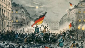 Origin of the Flag of Germany: Cheering revolutionaries in Berlin, on March 19, 1848.