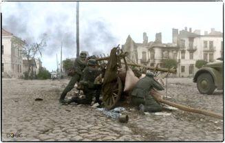 Propaganda shot of German Infantry in a Polish street fight, September 1939.