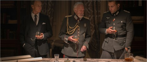 Ben Daniels as Col. Sigurd von Ilsemann, Christopher Plummer as Kaiser Wilhelm II, Jai Courtney as Capt. Stefan Brandt in The Exception directed by David Leveaux. DoP Roman Osin.