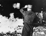 A Nazi book burning on 10 May 1933 in Berlin, as books by Jewish and leftist authors were burned.