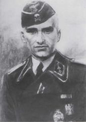 SS Untersturmfuhrer Eggers in Waffen SS uniform after a drawing.