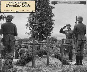 Last tribute: Erwin Koopmann salutes at the graves of his fallen men.